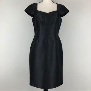 Chetta B. Black 100% Silk Cap Sleeve Sheath Dress
